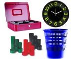 Koše, hodiny, stojánky, pokladny